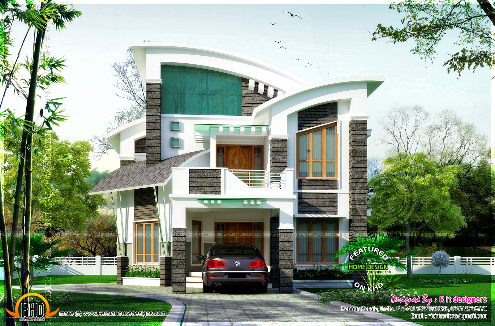 Awesome unique house in contemporary style home kerala plans for Unique modern house plans