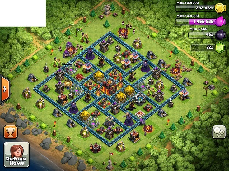 Ensidia clash of clans best th 10 defense layout