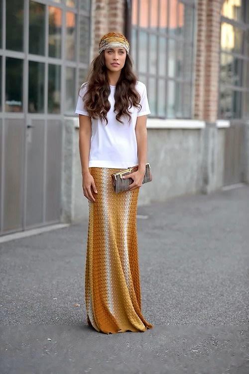 Moda de rua - Tendências primavera-verão 2015 saias compridas