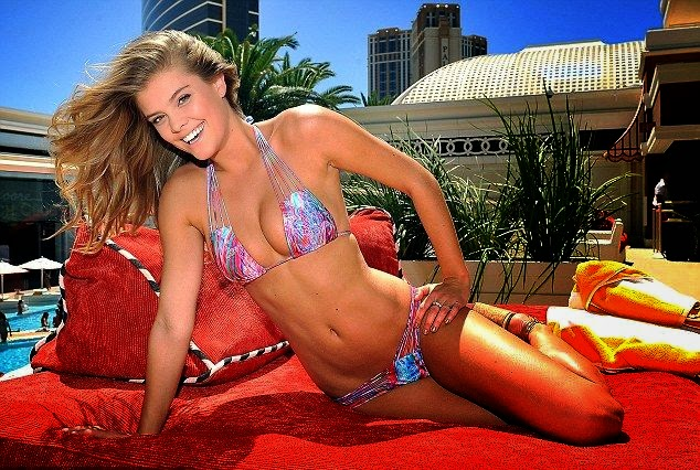 Just take a look at the gorgeous Nina Agdal who looks incredible in this purple swimsuit from famed swimwear queen's line at our high street favorite House. So no wonder if the 22-year-old is looking super fit as she's being co-hosting on a pool party at the Encore Beach Club in Las Vegas, Nevada on Friday, August 15, 2014.
