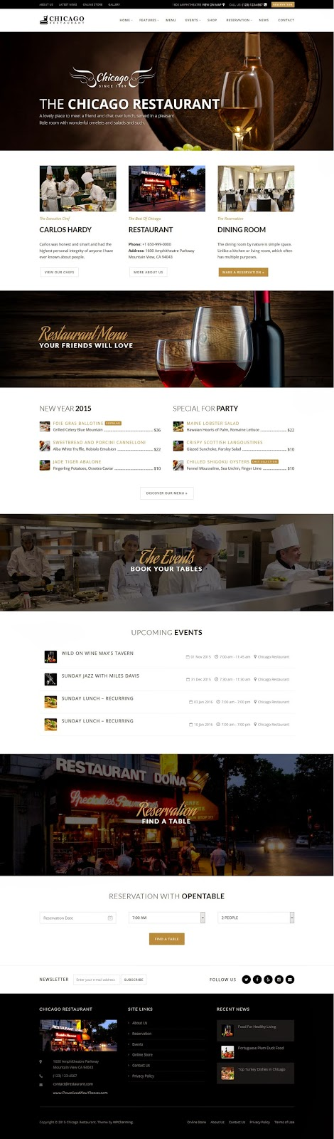 Premium Restaurant and Cafe WordPress Themes 2015