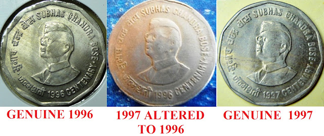 1996 NETAJI SUBHAS CHANDRA BOSE 2 RUPEES GENUINE FAKE ALTERED ISSUE