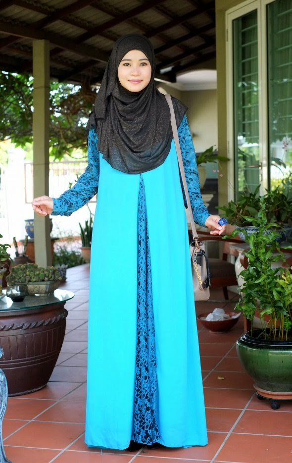 Dress Chiffon Lace Biru