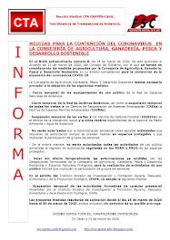MEDIDAS PARA LA CONTENCIÓN DEL CORONAVIRUS  EN LA CONSEJERÍA DE AGRICULTURA, GANADERÍA, PESCA Y DES