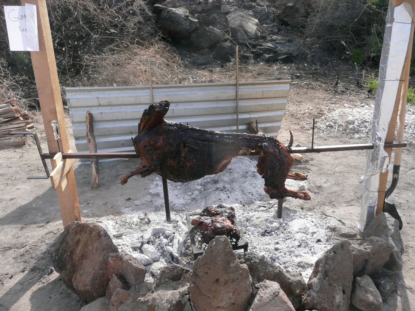 how to cook a goat on a spit