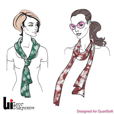 figurines de mode (filles foulards du cou)