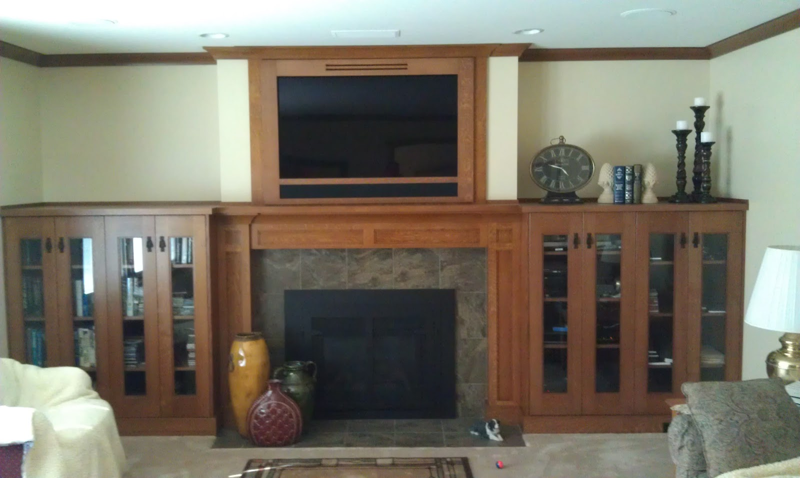 Stone Ridge Cabinets Craftsman Oak Fireplace Mantel And Entertainment Center