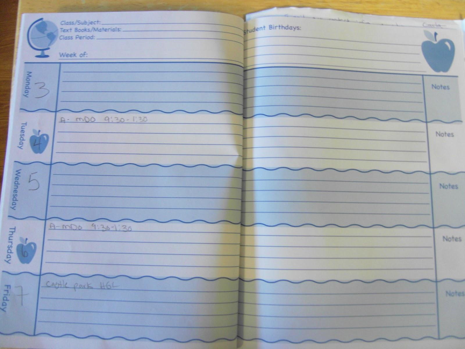 Calendar Planner Target : School of monkeys: lesson plans