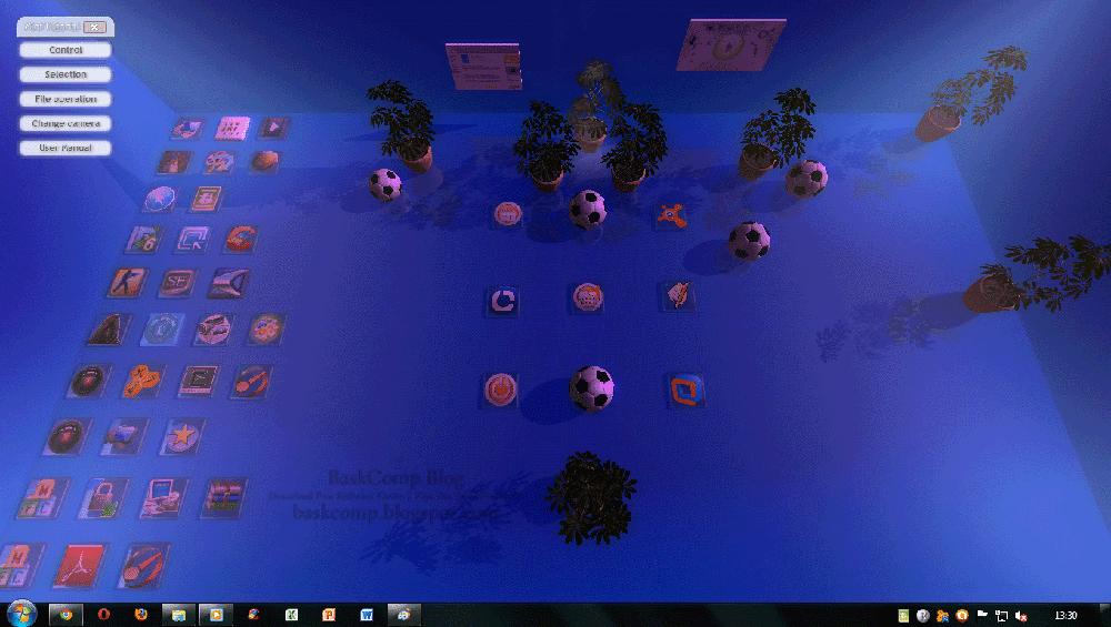 Tampilan utama di Real Desktop yang dimodifikasi settingnya