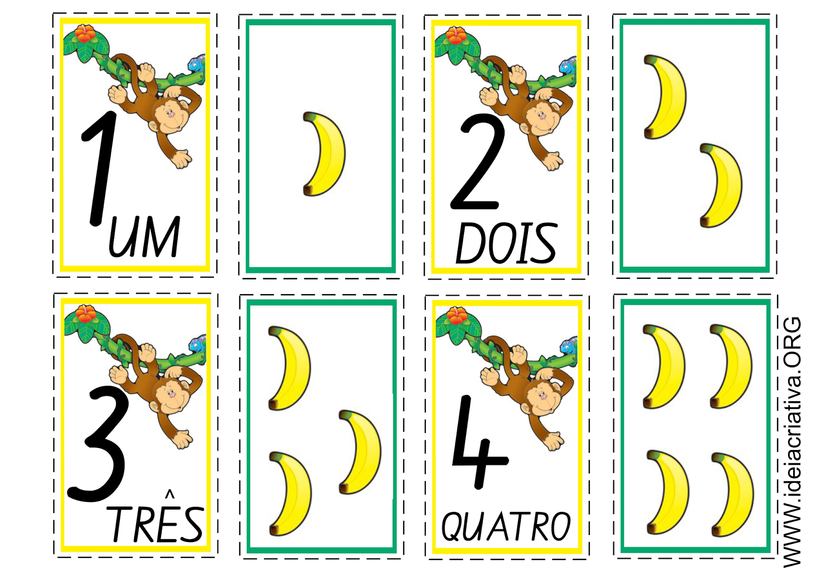 Flash Cards Número e Quantidade Macaquinhos