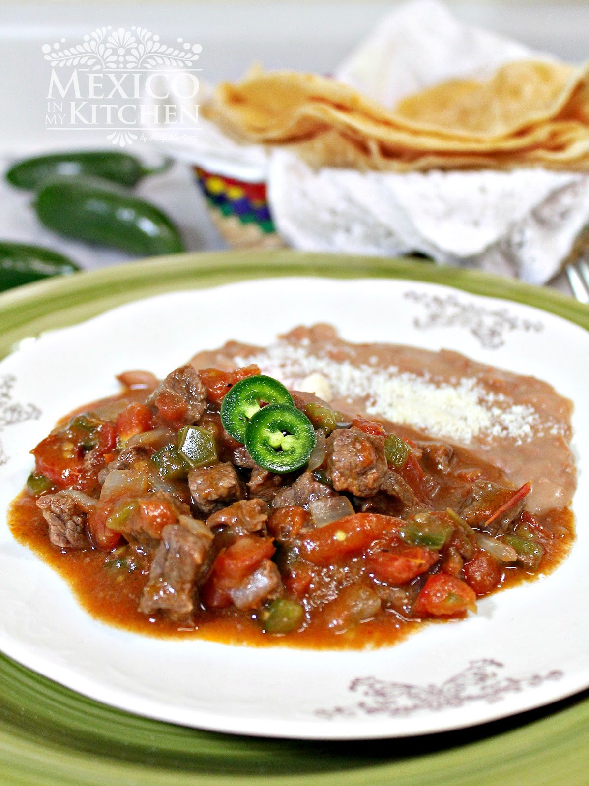 A beef stew to serve with flour tortillas traditional for Authentic mexican cuisine