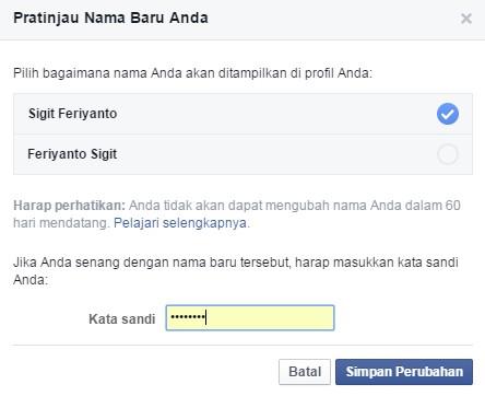 Cara Mudah Ganti Nama Akun Facebook Sepuasnya