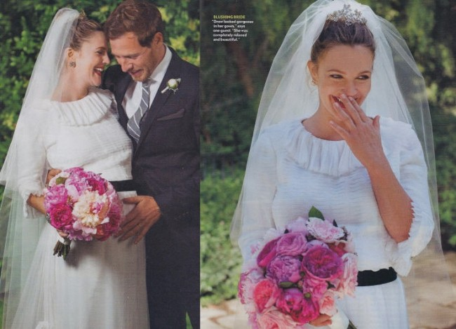 drew barrymore wedding dress
