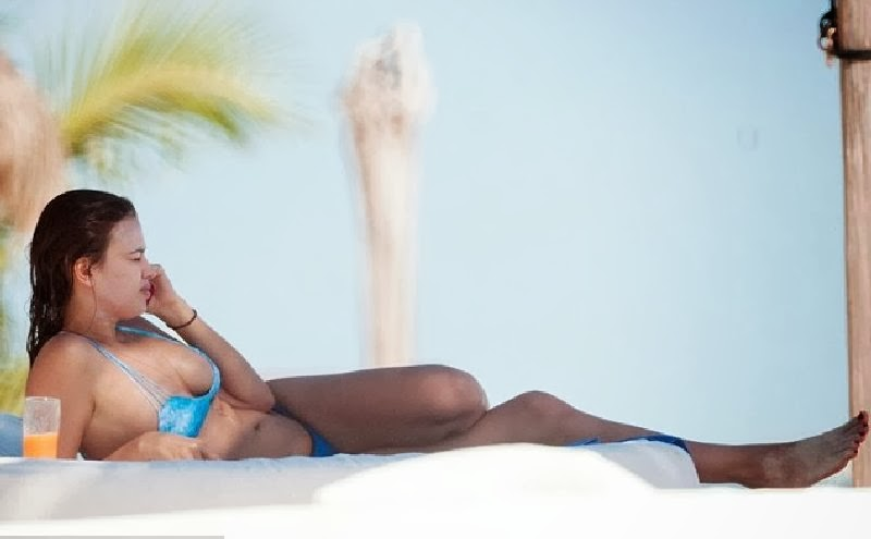 English:Irina Shayk Blue Bikini Mexico January 22, 2014
