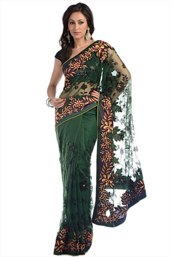 Amazon Green Net Saree