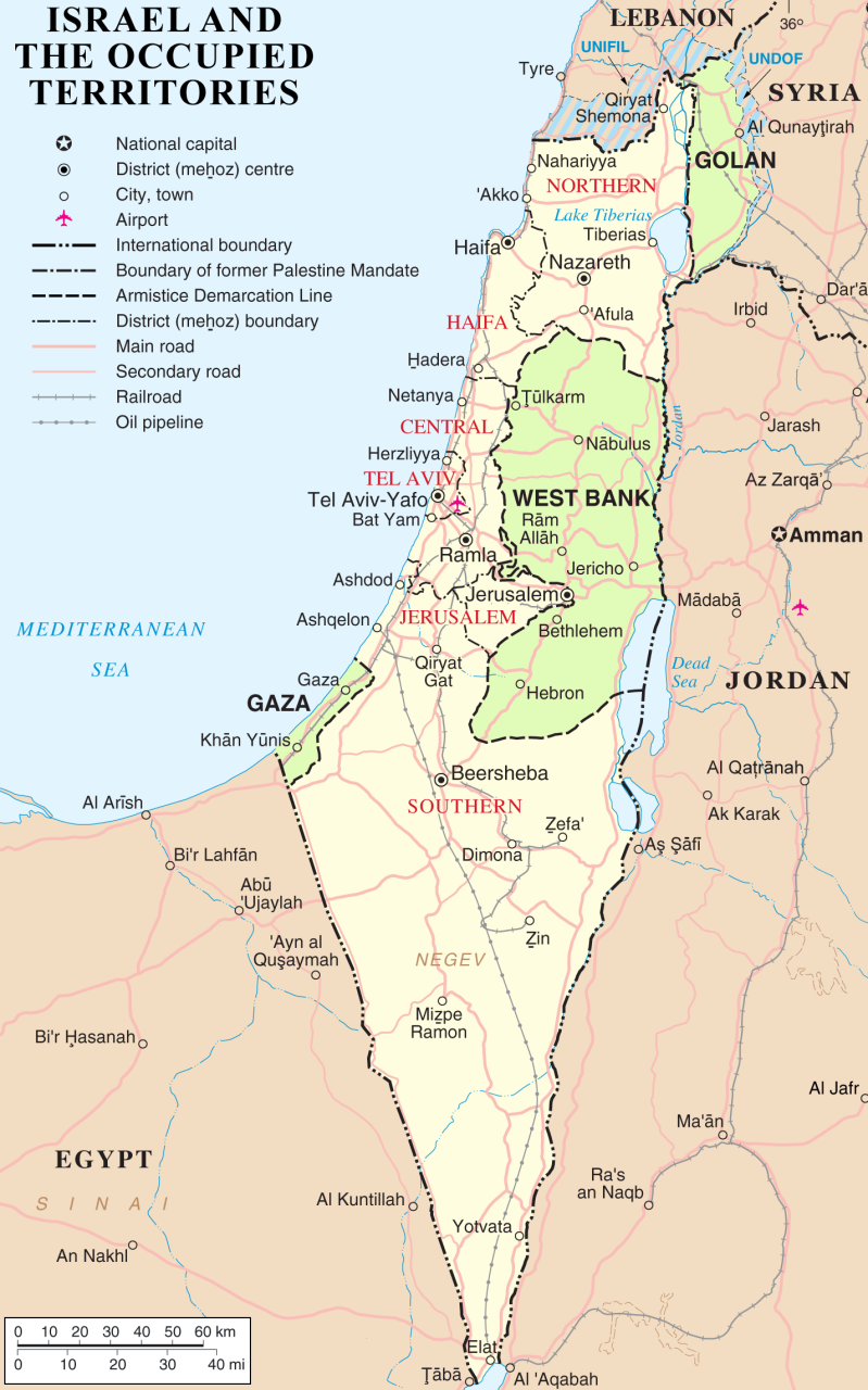 Map of Israel with the occupied territories of the West Bank, Gaza Strip, and Golan Heights highlighted