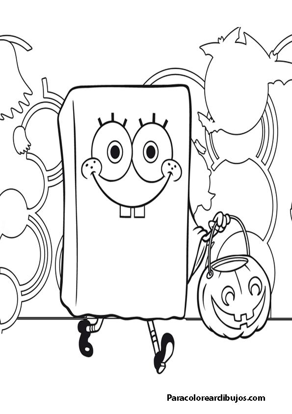Bob esponja halloween para colorearborder=