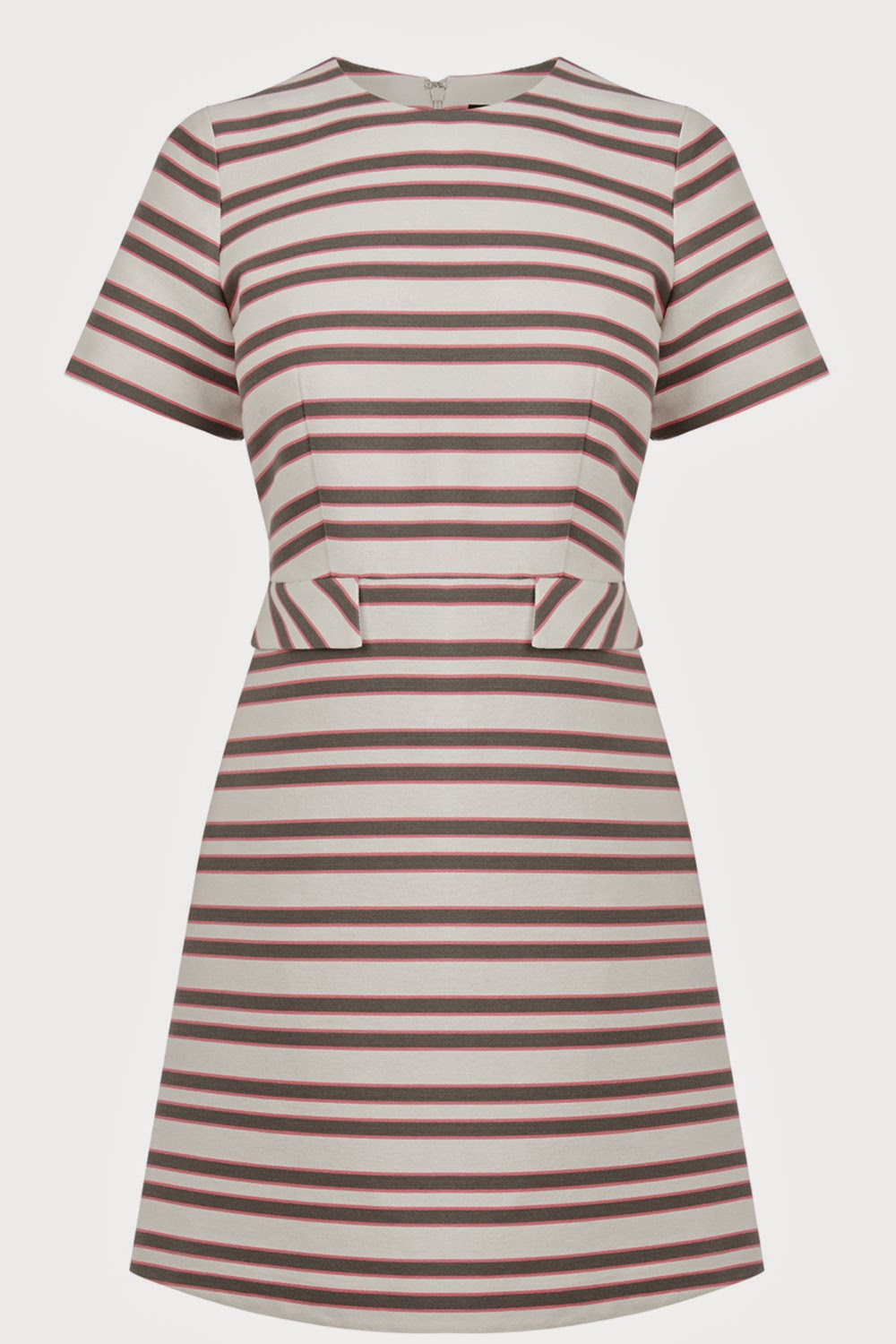warehouse pink stripe dress, white grey pink stripe dress,