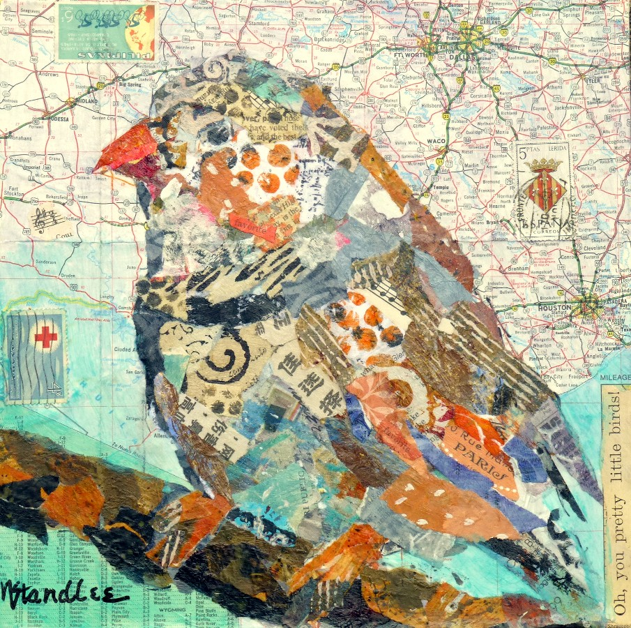 Nancy Standlee Fine Art Torn Paper Collage Pretty Bird