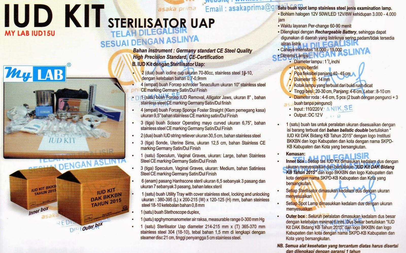 (DAK BIDANG KB 2015 )  IUD Kit dengan Sterilisator Listrik  IUD KIT BKKbN