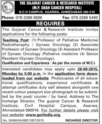 Applications are invited from experienced doctors for the Teaching Faculty Posts in Gujarat Cancer & Research Institute (GCRI) WWW.TNGOVERNMENTJOBS.IN