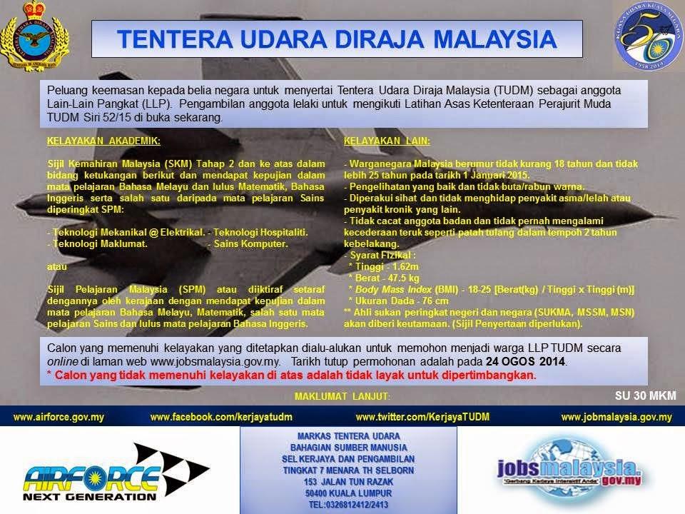 Kerja Kosong Terkini Di Tentera Udara Diraja Malaysia TUDM