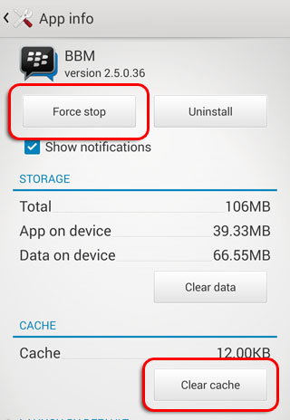 Force Stop BBM Android