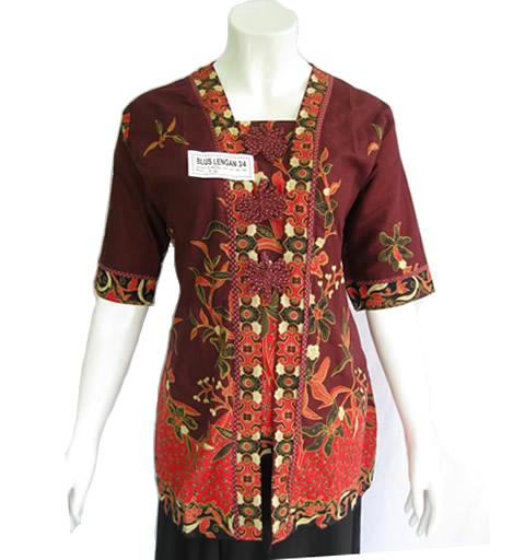 model baju blus batik wanita modern