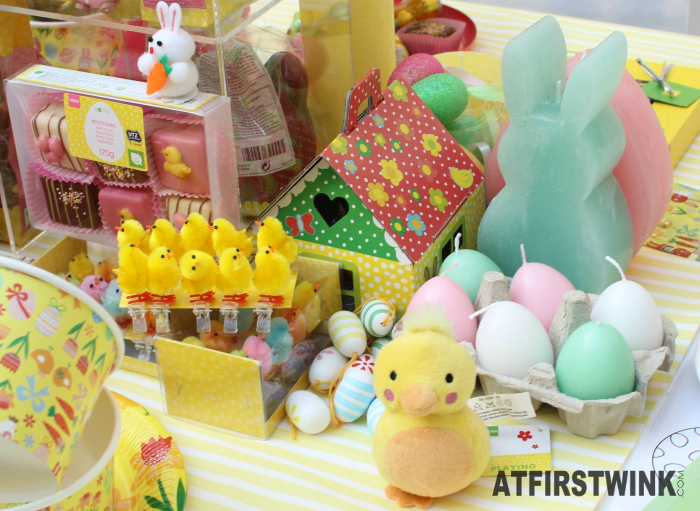 HEMA petit fours, chick decorations, egg candles, paper house, bunny candle
