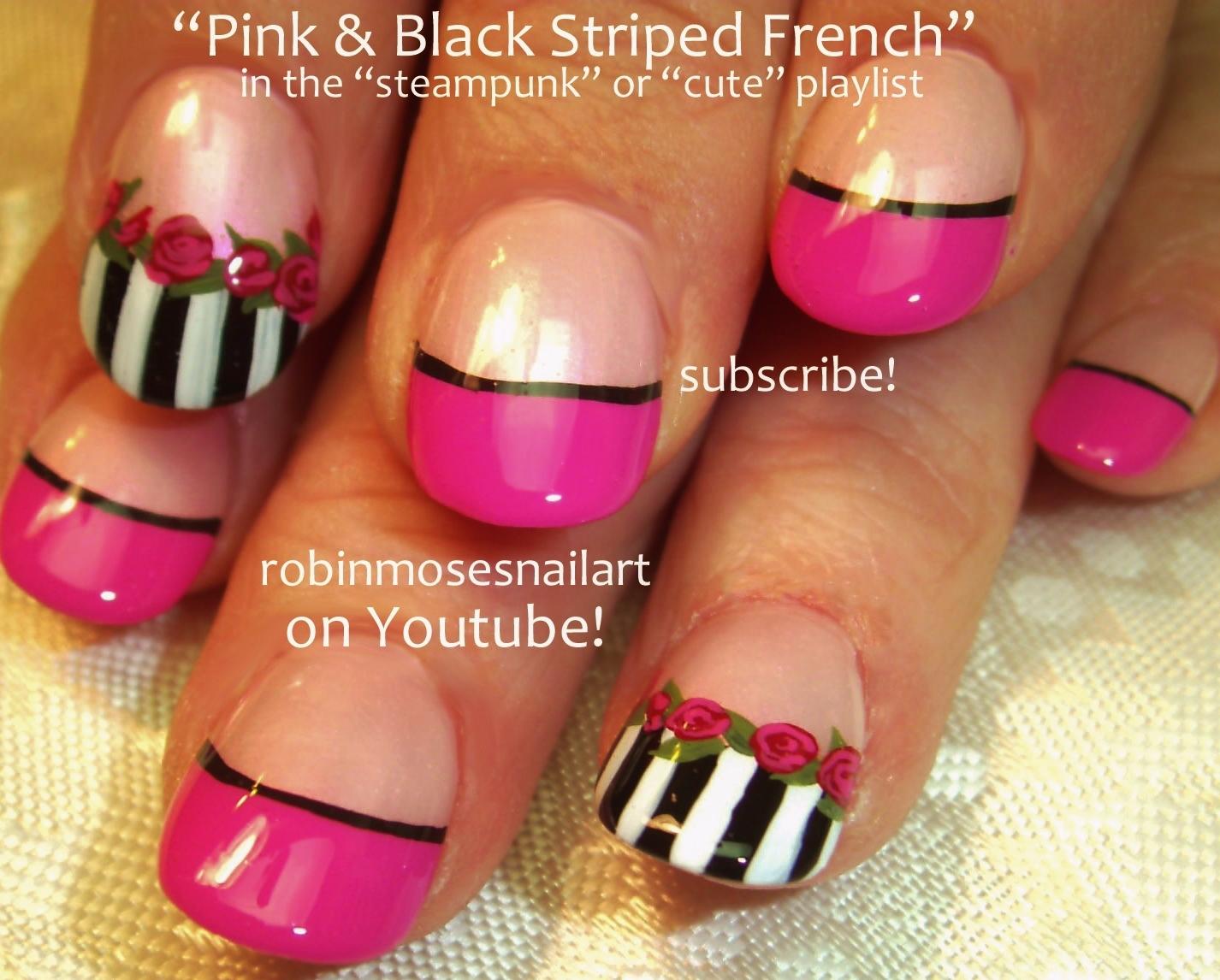 Pink Black And White Nail Art Pink Roses Nail Art Pink Rose Nails