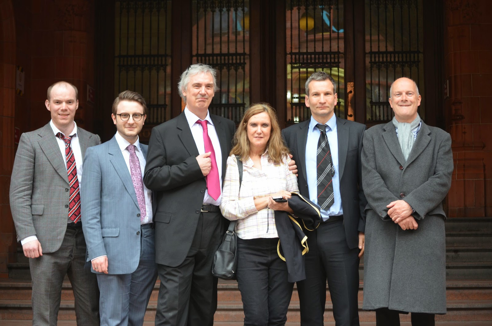 Some of Liberty GB outside the Court. From the left: Aaron Brian, Jack Buckby, Tim Burton, Enza Ferreri, Patrick Rourke, George Whale