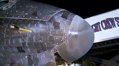 Detail of Endeavour's nose. NASA 2011.