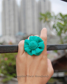 cincin bunga kain, fabric flower ring