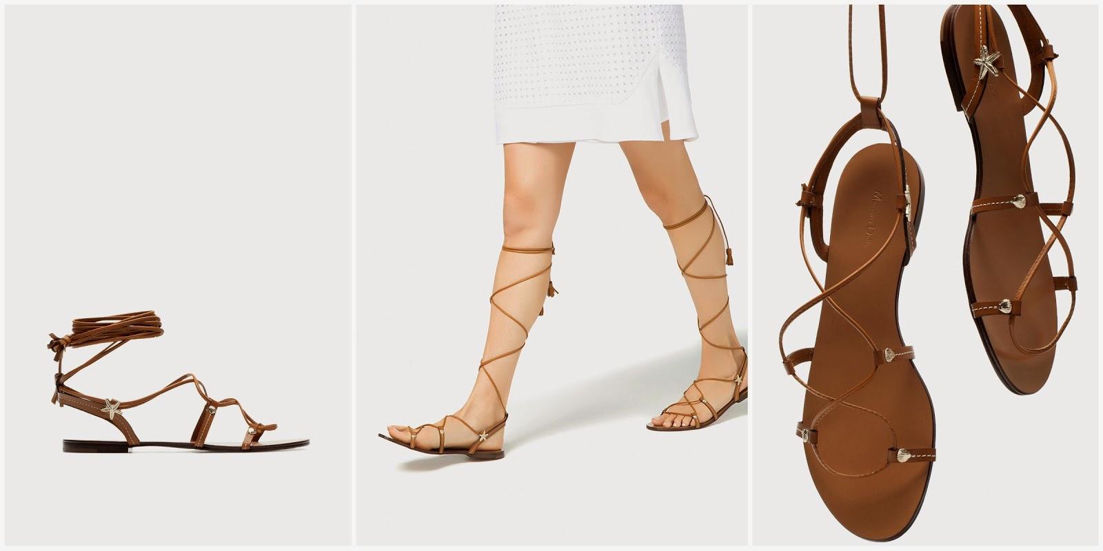 Sandalias romanas Massimo Dutti. Sandalias verano 2015. Los zapatos que llevaremos este verano. Verano 2015. Las mejores sandalias. Los zapatos más copiados. Las sandalias más copiadas. Los mejores clones de Valentino.