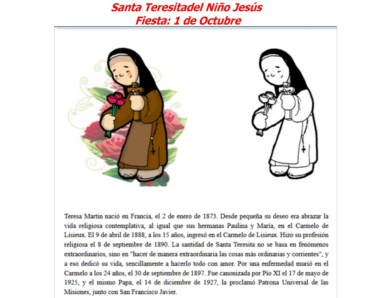 Me gusta la clase de religión: Santa Teresita del Niño Jesús