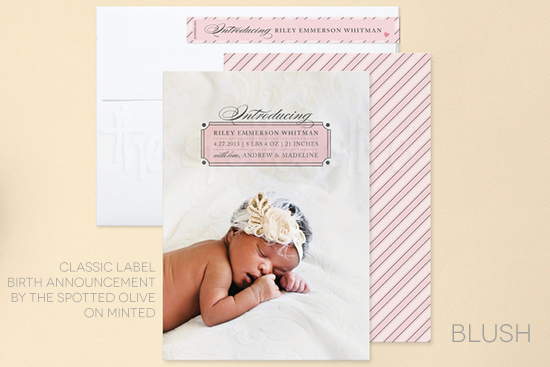 Classic Label Birth Announcement by The Spotted Olive on Minted.com