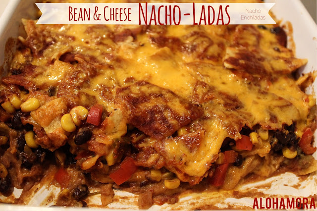 Bean and Cheese Nacho-Ladas, a delicious combination of nachos and enchiladas to make for one healthy, skinny, diet friendly Mexican Casserole.  Alohamora Open a Book http://www.alohamoraopenabook.blogspot.com/ easily gluten free, vegetarian