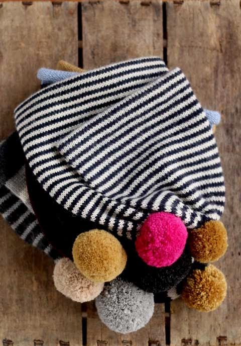 Fournier striped hats featuring pom-poms in baby alpaca