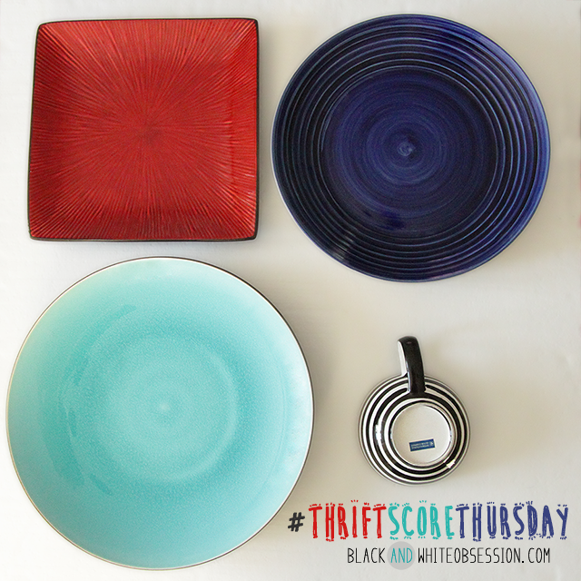 #thriftscorethursday Week 5 | Glass Obsession, Ceramic Plates and a Black and White Striped Mug