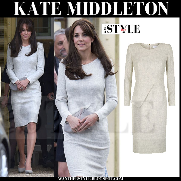 Kate Middleton in light grey tweed the fold dress and suede pumps september 25 copy her look what she wore