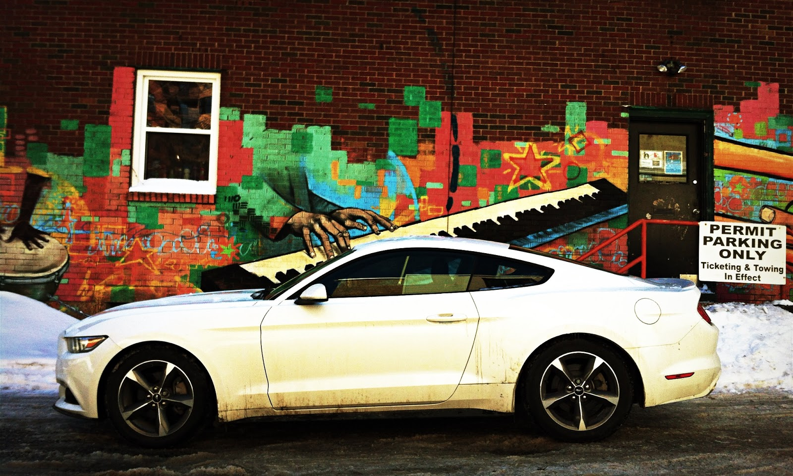 2015 Ford Mustang V6 white side view