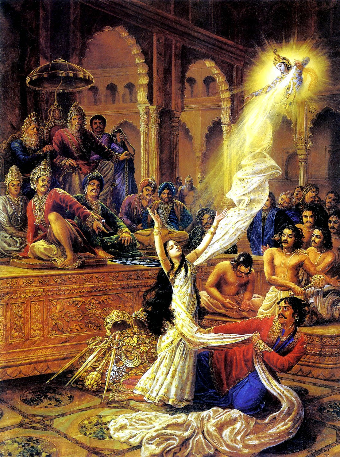 Draupadi praying to Krishna for protection