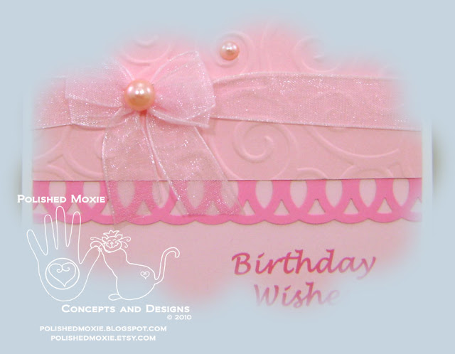 Image of a portion of my handmade girly pink birthday card.