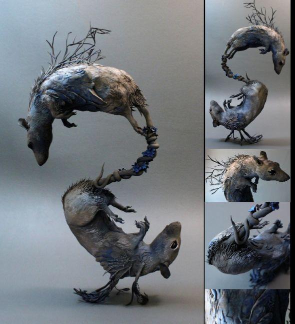 Ellen Jewett CreaturesFromEl deviantart esculturas surreais mixed animais Ratos gêmeos