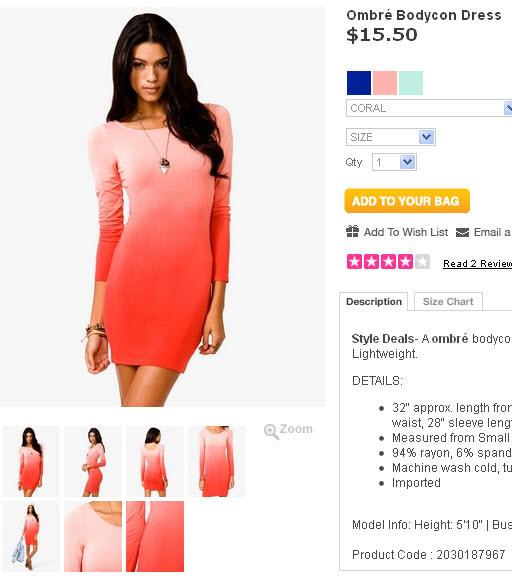Six Twenty Seven: Ombre Bodycon Dress: @EKINEYO vs @Forever21
