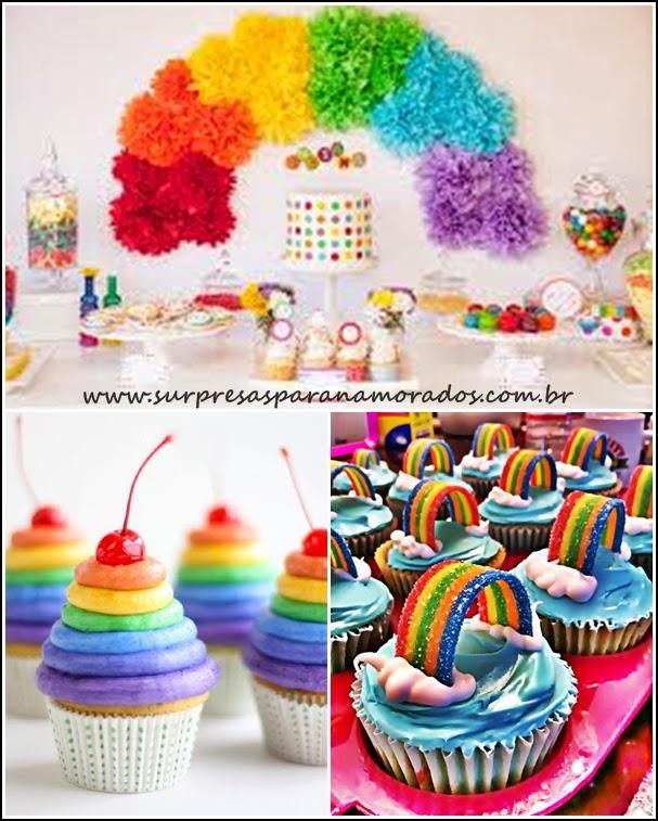 festa e cupcakes arco-íris