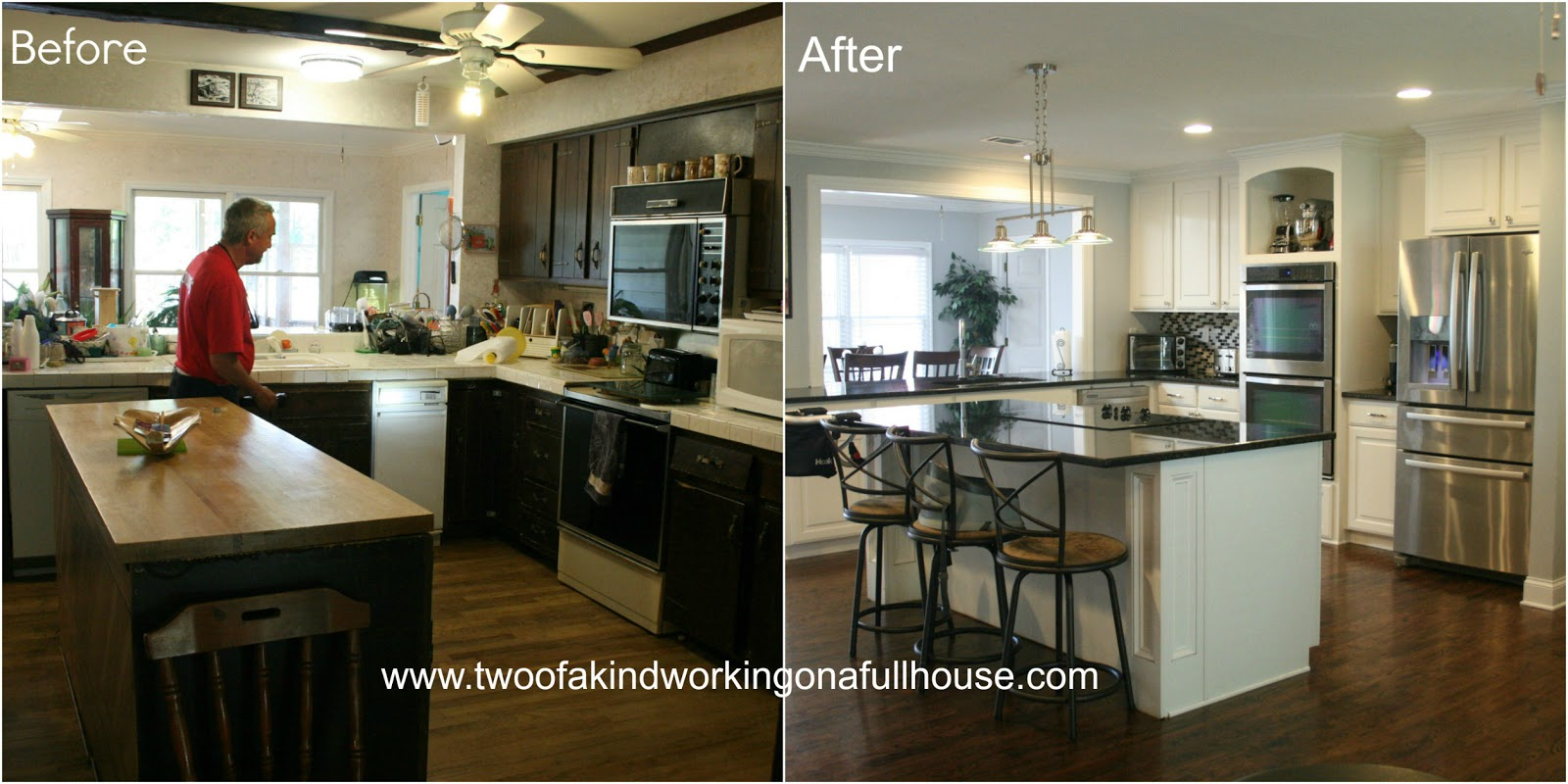 Wordless wednesday before after kitchen remodel pictures two of a kind working on a full house Home redesign