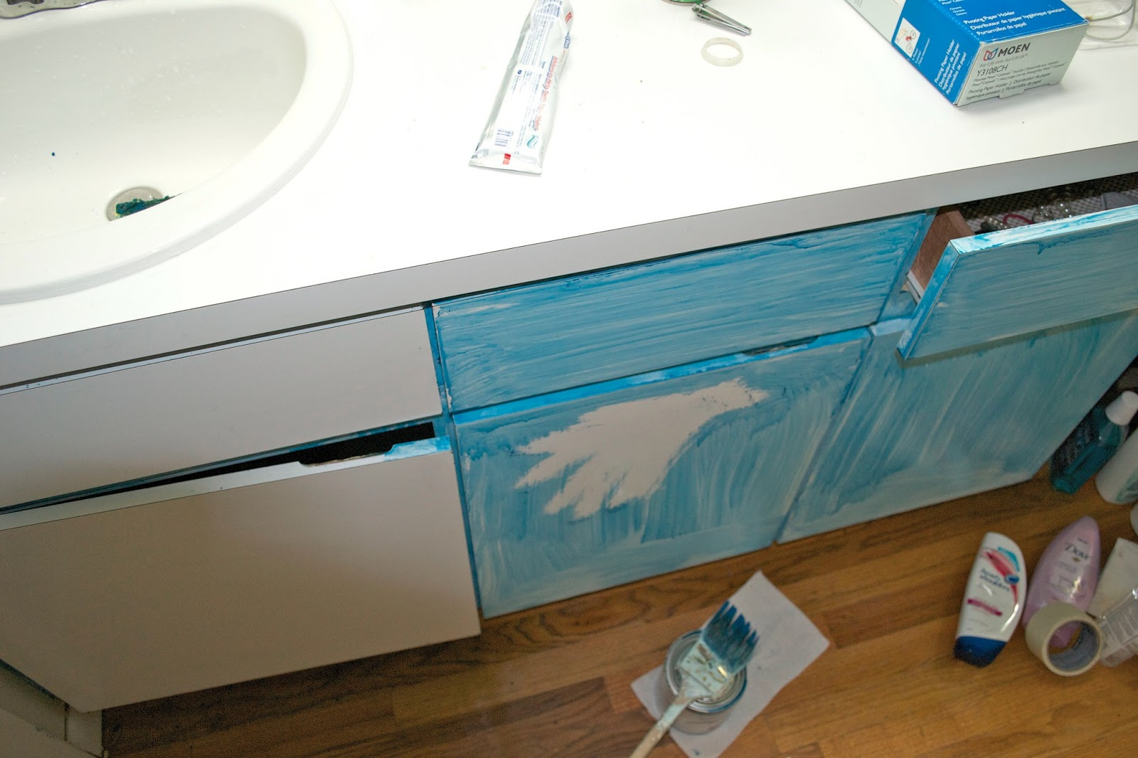 Seesaws and sawhorses painting a laminate vanity for Painting laminate bathroom vanity
