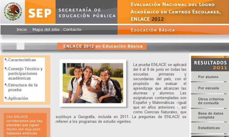 Enlace Resultados 2012 SEP Basica