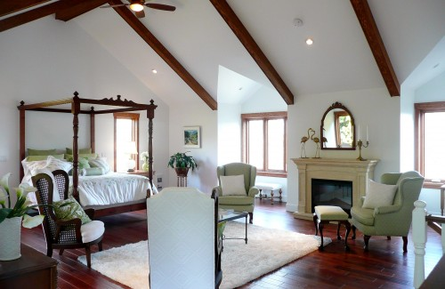 Attic works decorating with wood 2 Master bedroom ceiling beams